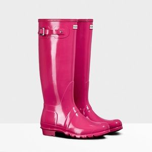 Hunter Original Tall Gloss Rain Boot bright pink 6